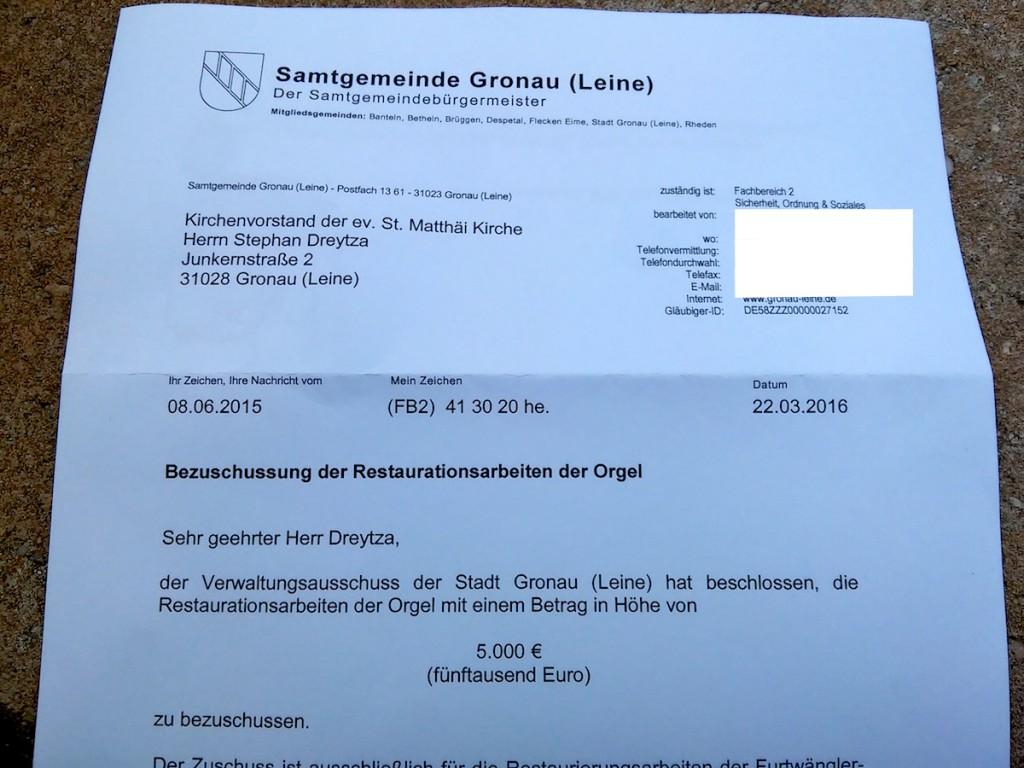 Bescheid 5.000 Euro Stadt Gronau